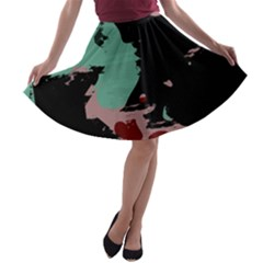 Retro colors texture A-line Skater Skirt