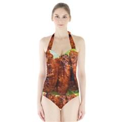 Chicken Wings By Sandi Women s Halter One Piece Swimsuit