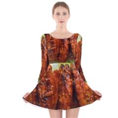 Chicken Wings By Sandi Long Sleeve Velvet Skater Dress