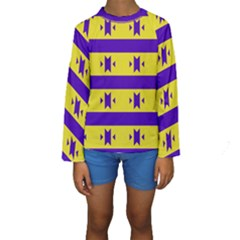 Tribal shapes and stripes  Kid s Long Sleeve Swimwear