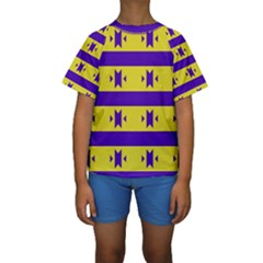 Tribal shapes and stripes  Kid s Short Sleeve Swimwear
