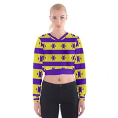Tribal Shapes And Stripes   Women s Cropped Sweatshirt