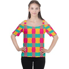 Distorted shapes in retro colors pattern Women s Cutout Shoulder Tee