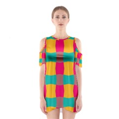 Distorted Shapes In Retro Colors Pattern Women s Cutout Shoulder Dress