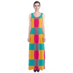 Distorted shapes in retro colors pattern Full Print Maxi Dress