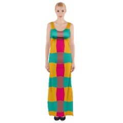 Distorted shapes in retro colors pattern Maxi Thigh Split Dress