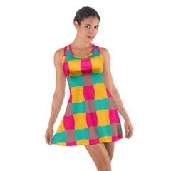 Distorted Shapes In Retro Colors Pattern Cotton Racerback Dress