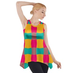 Distorted shapes in retro colors pattern Side Drop Tank Tunic