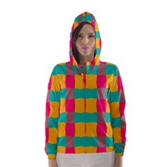 Distorted shapes in retro colors pattern Hooded Wind Breaker (Women)