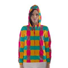 Distorted Shapes In Retro Colors Pattern Hooded Wind Breaker (women)