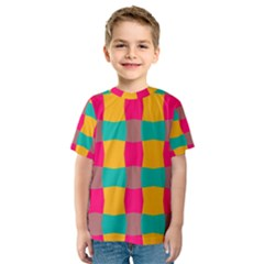 Distorted shapes in retro colors pattern Kid s Sport Mesh Tee