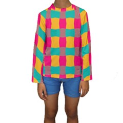 Distorted Shapes In Retro Colors Pattern  Kid s Long Sleeve Swimwear