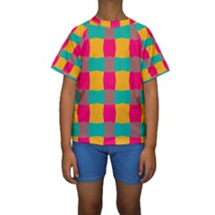 Distorted Shapes In Retro Colors Pattern  Kid s Short Sleeve Swimwear
