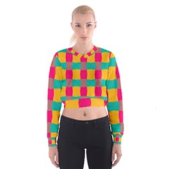 Distorted shapes in retro colors pattern   Women s Cropped Sweatshirt