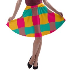 Distorted shapes in retro colors pattern A-line Skater Skirt