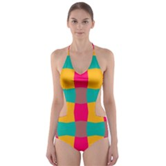 Distorted shapes in retro colors pattern Cut-Out One Piece Swimsuit