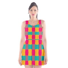 Distorted shapes in retro colors pattern Scoop Neck Skater Dress