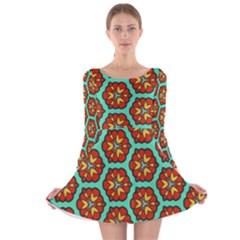 Red Flowers Pattern Long Sleeve Velvet Skater Dress