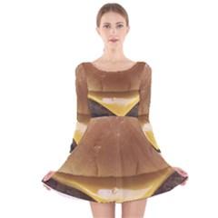 Burger By Sandi Long Sleeve Velvet Skater Dress