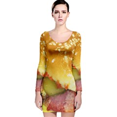 Bacon Burger By Sandi Long Sleeve Velvet Bodycon Dress