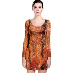 Bacon Cooking By Sandi Long Sleeve Velvet Bodycon Dress