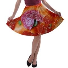 Pizza Topping By Sandi A-line Skater Skirt