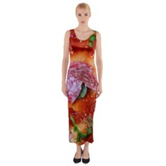 Pizza Topping By Sandi Fitted Maxi Dress