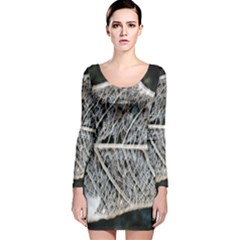 Modern Leaf Long Sleeve Velvet Bodycon Dress