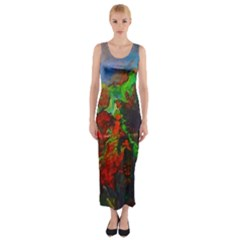 Chicago Park Painting Fitted Maxi Dress