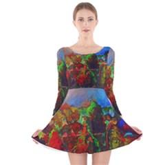 Chicago Park Painting Long Sleeve Velvet Skater Dress