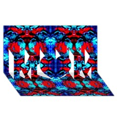 Red Black Blue Art Pattern Abstract Mom 3d Greeting Card (8x4)
