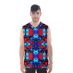 Red Black Blue Art Pattern Abstract Men s Basketball Tank Top