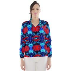 Red Black Blue Art Pattern Abstract Wind Breaker (Women)