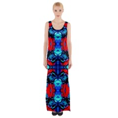 Red Black Blue Art Pattern Abstract Maxi Thigh Split Dress