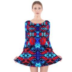 Red Black Blue Art Pattern Abstract Long Sleeve Velvet Skater Dress