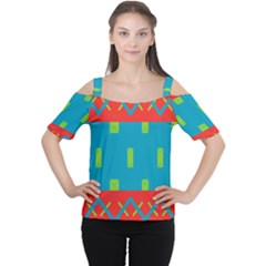 Chevrons and rectangles Women s Cutout Shoulder Tee