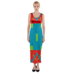 Chevrons and rectangles Fitted Maxi Dress