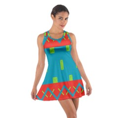Chevrons and rectangles Cotton Racerback Dress