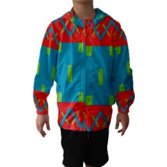 Chevrons and rectangles Hooded Wind Breaker (Kids)