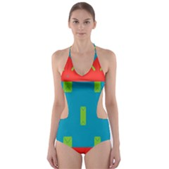 Chevrons and rectangles Cut-Out One Piece Swimsuit