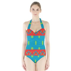 Chevrons And Rectangles Women s Halter One Piece Swimsuit