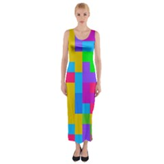 Colorful Tetris Shapes Fitted Maxi Dress