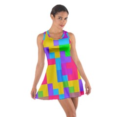 Colorful Tetris Shapes Cotton Racerback Dress