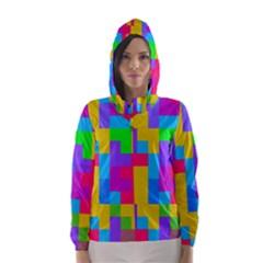 Colorful Tetris Shapes Hooded Wind Breaker (women)