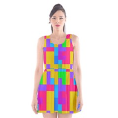 Colorful tetris shapes Scoop Neck Skater Dress