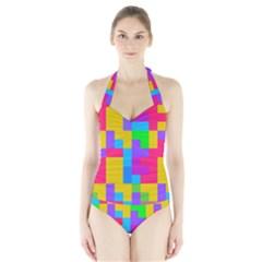 Colorful Tetris Shapes Women s Halter One Piece Swimsuit