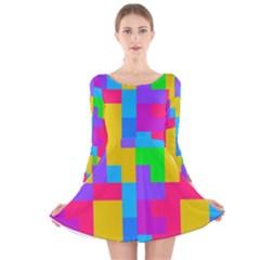 Colorful tetris shapes Long Sleeve Velvet Skater Dress