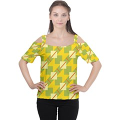 Squares and stripes Women s Cutout Shoulder Tee