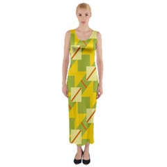 Squares and stripes Fitted Maxi Dress