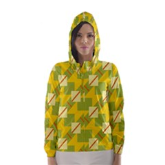 Squares And Stripes Hooded Wind Breaker (women)